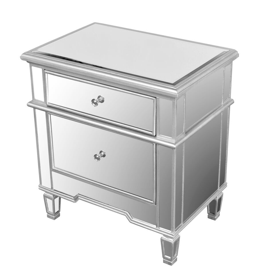 FRA2011 2 Drawer Silver Mirrored Nightstand 2 Genesis Furniture