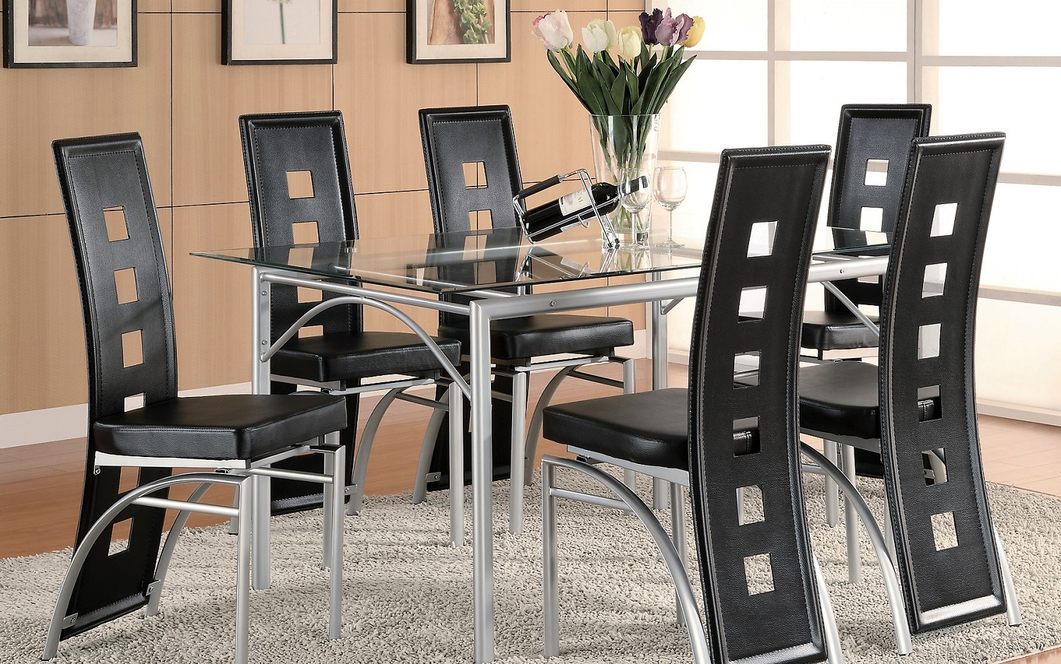 silver dining table and chairs. Los Feliz Contemporary Metal Table  Chairs Genesis Furniture