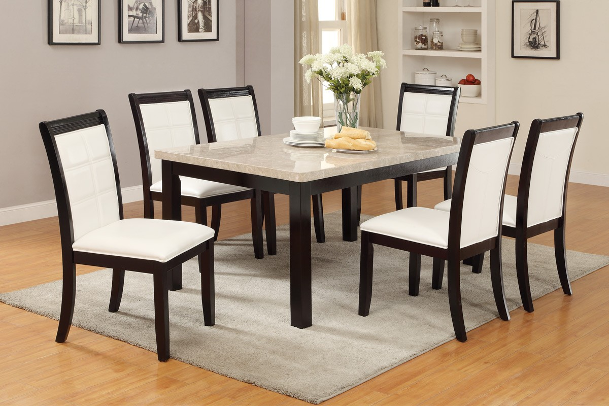 Poundex F2295 Real Marble Top Table Set