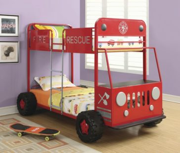 460026 Red Metal Fire Rescue Car Twin Twin Bunk Bed by Coaster