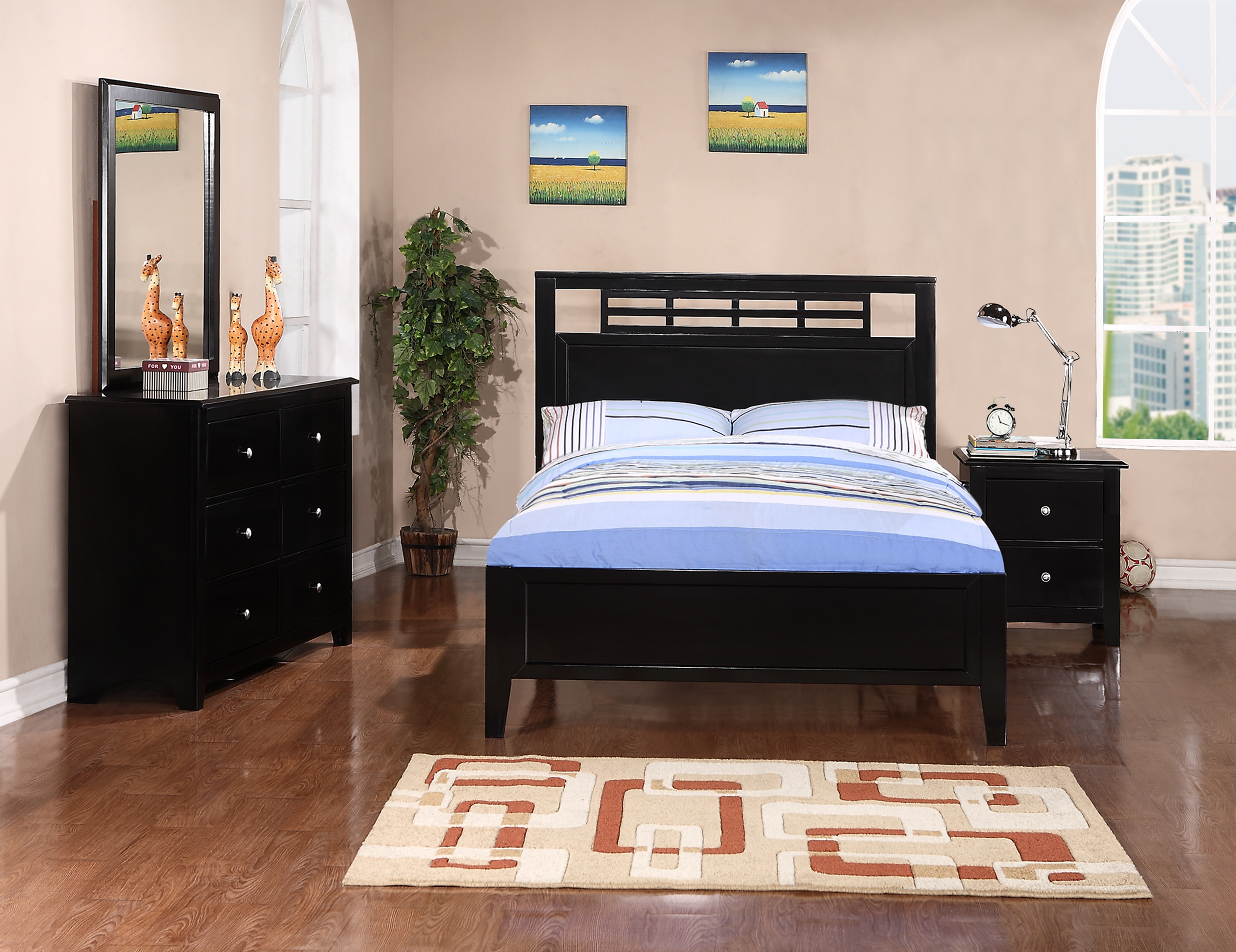Black Color. F9099 Youth bedroom set by Poundex Furniture   Genesis Furniture